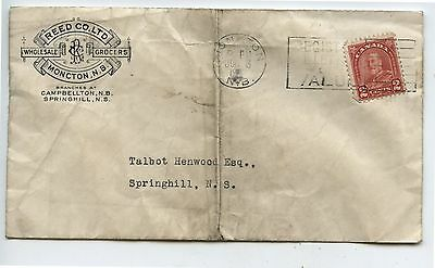Old 1930's Canada Postal Cover Reed & Co Grocers Moncton New Brunswick