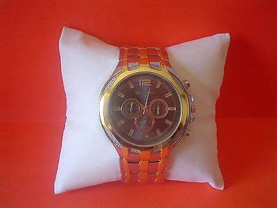 Men`s ORLANDO Gold and Silver Quartz Black Faced Wrist Watch.(Aussie Seller)