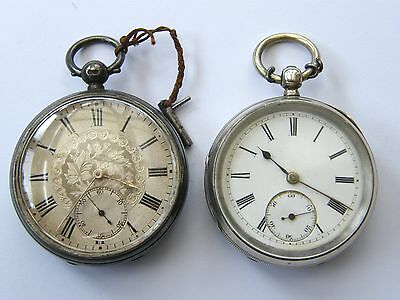 Antique-x2 Solid Silver Lever Pocket Watches-Warrant To Queen-London-c1890