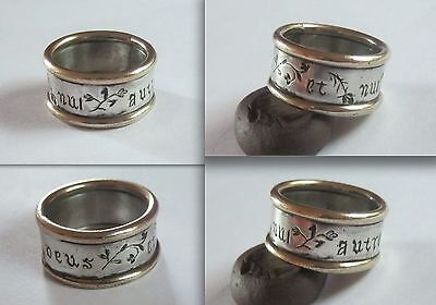 "Renaissance Silver and GOLD Poesy/Betrothal Band Ring inscr. ""Vous et nul autre"""