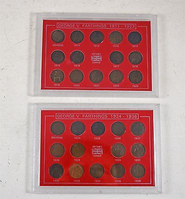 Cased Collection Of King George V 1911-1936 Farthing Coins
