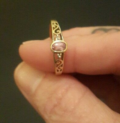 9ct gold Pink Sapphire and diamond ring size 8
