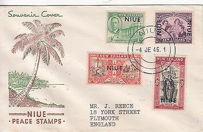 Niue: Peace Stamps FDC, Niue to Plymouth, 4 June 1946