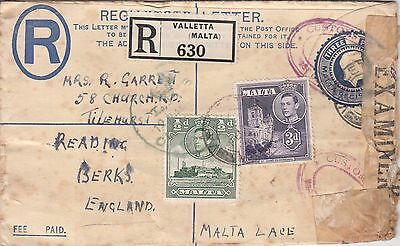 Malta: Registered Censored Cover, with 2 Customs cachets, to Reading, 1943