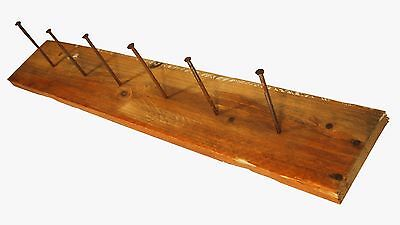 French Antique Provencal Wall Coat Rack Hooks Industrial Clothes Rustic Wood Old