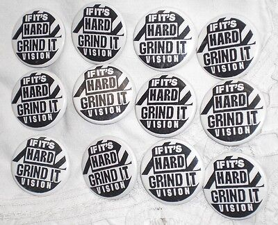 "Vintage Pins ~ ""IF IT'S HARD GRIND IT"" VISION SKATEBOARD PIN /BADGE~ 24 Count"