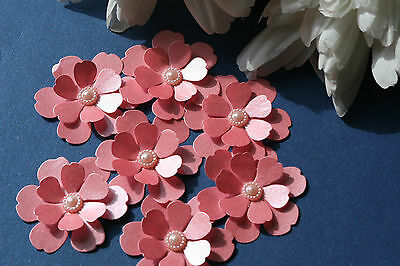 12 Coral Pink Shimmer 3D Flowers.card Topper, Wedding Stationery, Crafts
