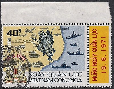 Vietnam (South) 1971 40p Armed Forces Day Marginal with Tab VFU