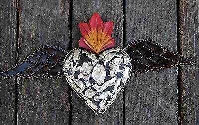 # 4 Black Wood Heart Tin Wings Milagros Folk Art Michoacán Mexico Love Token