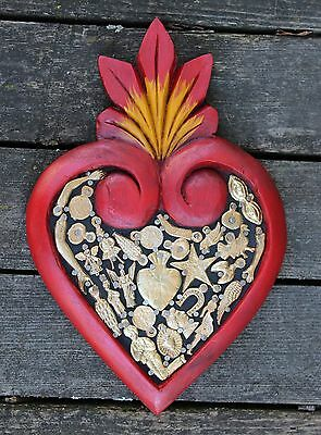 #4 Med Hand Carved Red wood Heart Milagros Folk Art Michoacán Mexico Love Token