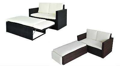 Rattan Love Bed Sofa Outdoor Cushion Pillow Furniture Stool Black Or Brown New