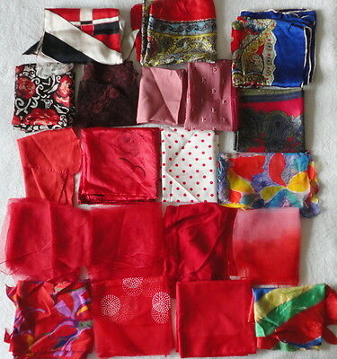 Lot of 15 Vintage Ladies Fashion Scarves Silk Polyester Chiffon Hand Rolled Hems
