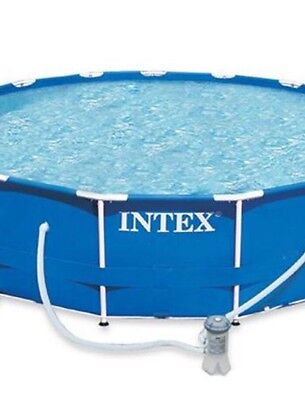 "Intex Framed Swimming Pool 15ft X 48"" with pump/covers/ladder/chems/instructions"