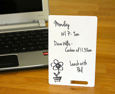 Mini Whiteboards - 2 x White PVC stationery cards for home, office, education