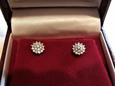 9ct Yellow Gold Genuine 0.25ct Diamond Cluster stud Earrings