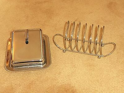 Stylish Vintage Art Deco Silver Plate & Glass Cheese Dish & Toast / Letter Rack