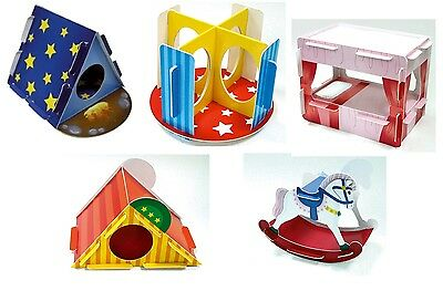 5 x Play n Chew Cardboard Toy Hamster Gerbil Mouse Bed, Tent Slide Rocking *SALE