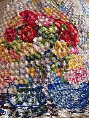 Hand Stitched completed work tapestry cushion front picture