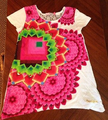 Girls Desigual Cotton Short Sleeve Top/Shirt w/ Lace and Sequins sz 11/12