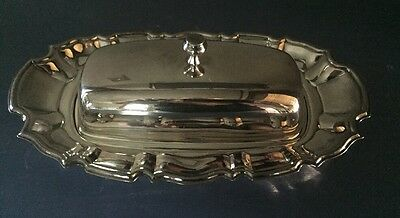 Vintage Silver Plate Towle Butter Dish W/Glass Insert Chippendale Pattern