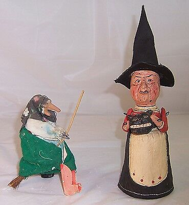 2 Vintage Wicked Witch Figures: Poliwoggs #8331 w/ Black Cat Gourd, Broomstick