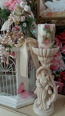Vintage Italian Alabaster Ivory Cream Art Deco Woman with Dog Figurine