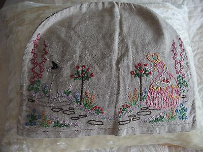 vintage hand worked embroidery tea cosy Crinoline lady