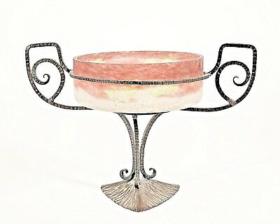 French Art Deco Compote with a Frosted Glass Bowl