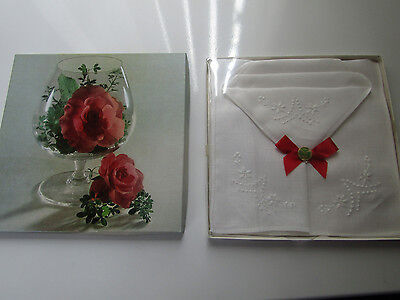 Vintage Ladies Irish Linen Hankerchiefs with Embroidered Flowers in box UNUSED