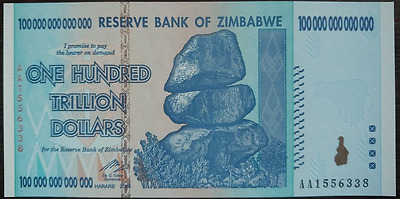 10 Pieces of  Zimbabwe 100 Trillion Dollars, 61-70 Number, Excellent Condition