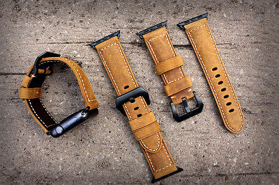 Brown Bull Leather Watch Strap Band for Apple Watch Series 1 2 38MM Black Fixing