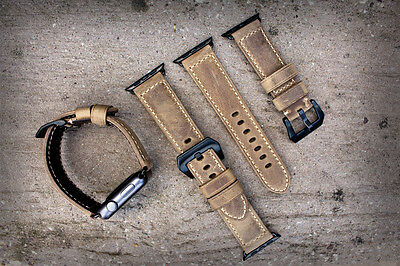 Brown Distressed Leather Watch Strap Band For Apple Watch Series 1 2 42mm BLACK
