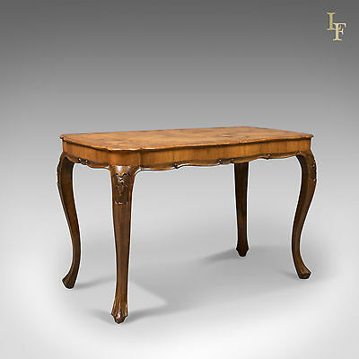 Antique Coffee Table, French, Burr Walnut, Occasional, Side, Lamp c.1910