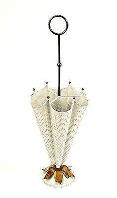 Italian Mid-Century (1950s) White Painted Perforated Metal Umbrella Stand