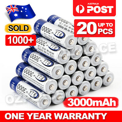OZ 4-20X BTY AA Rechargeable Battery Recharge Batteries 1.2V 3000mAh Ni-MH
