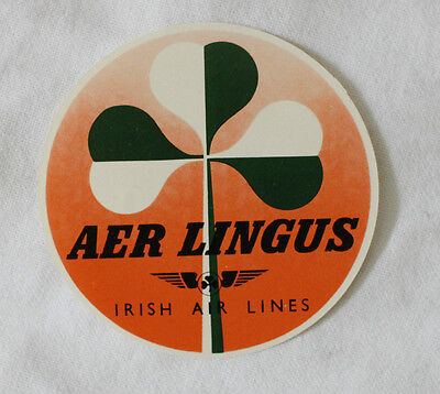 AER LINGUS AIRWAYS Bag Luggage vintage tag sticker 1950's