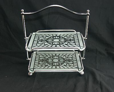 Vintage 2 Tier Cake Stand Art Deco Silver Plated Tiered Plate Table Serving Vtg