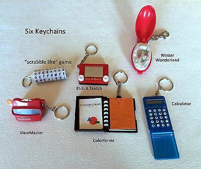ETCH A SKETCH Colorforms Viewmaster Scrabble Calculator Six Keychain Keyring