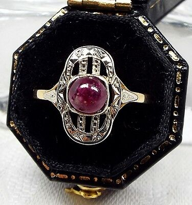 Antique Edwardian Cabochon Ruby Belle Époque Ring 18ct Gold Platinum / Size N