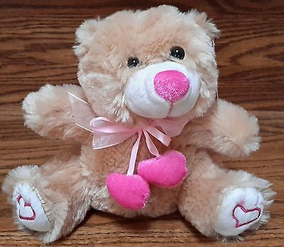 Small Valentine's Bear w/Pink Hearts Scarf and Hearts Stitched on Rear Paws- 7""
