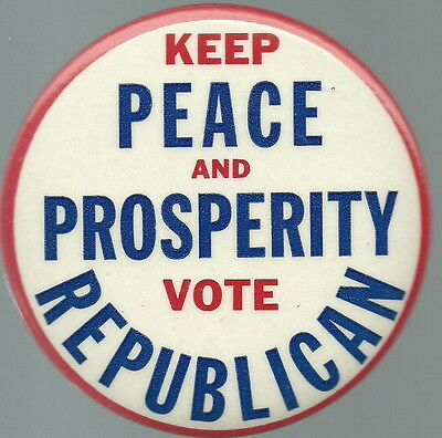 Eisenhower Keep Peace And Prosperity 1956 Political Pin