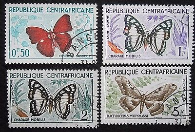4  Central Africa Republic 'butterfly' Stamps