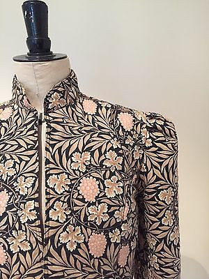Vintage William Morris Fabric Fitted Quilted Jacket By Jean Cox Size 10/12