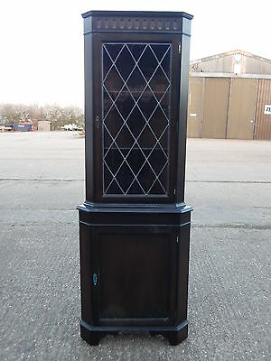 Georgian style mahogany glazed corner display cabinet wall unit with leaded glas