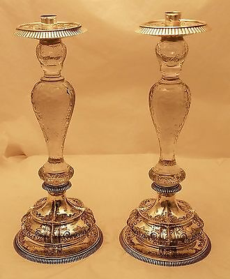 Dominick & Haff Silver and Glass Candlesticks