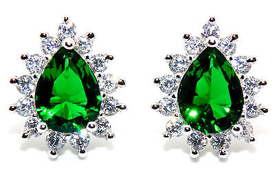 Sterling Silver Emerald And Diamond 2.98ct Pear Cut Stud Earrings (925)