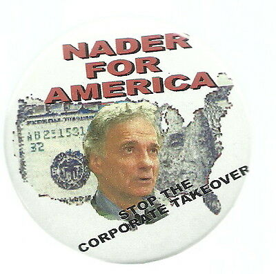 Ralph Nader Stop Corporate Takeover Political Pin