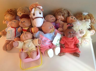Vtg Lot of Cabbage Patch Kid: 6Babies, 3Dolls, 1Horse, 2Puppies, 1Cat, Pacifier