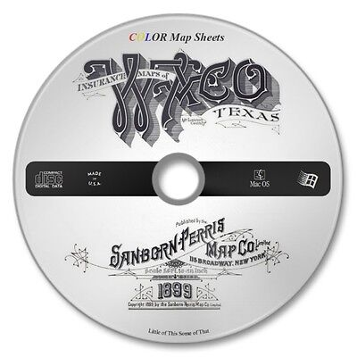 Waco, Texas 58 Color Sanborn Map Sheets on New CD Year 1899