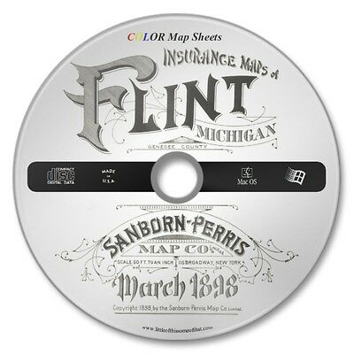Flint, Genesee County, Michigan 18 Color Sanborn Map Sheets on New CD Year 1898